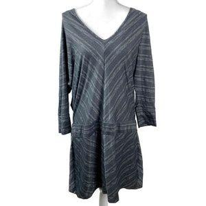 Athleta Sparklelust Gray Metallic Striped Dress XL